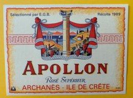 11956 - Apollon Rosé 1989 Archanès Crête - Etichette