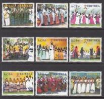 2010 Eritrea Festival Culture Costumes  Complete Set Of 9 MNH - Eritrea
