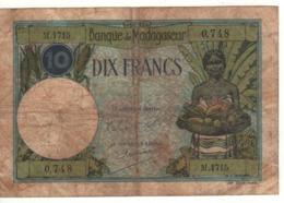 MADAGASCAR  10 Francs      P36   (ND 1937-1947) - Madagascar