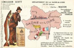CPA Emulsion SCOTT Saone Et Loire - Landkaarten