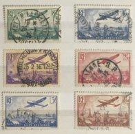 Timbre France Poste Aérienne YT  8 9 10 11 12 13 (°) Avion Survolant Paris Caudron (côte 60 Euros) – 336 - Luftpost