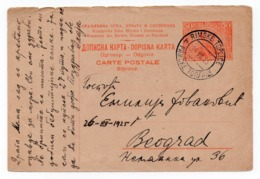 1925 YUGOSLAVIA, SLOVENIA, RIMSKE TOPLICE TO BELGRADE, RESPONSE PART,  STATIONERY CARD, USED - Postal Stationery