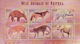 2001 Eritrea Wild Animals  Complete Set Of 2 Miniature Sheets Of 6 MNH Elephants Hyena Leopards - Eritrea