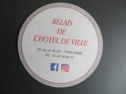 Sous Bock Personalisé Brasserie  Relais De L' Hotel De Ville Rue De Rivoli Paris Dos Vierge - Portavasos