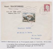 DECARIS Lettre Pour Monaco Taxée à L'arrivée Voir Texte Sous La Lettre - Covers & Documents