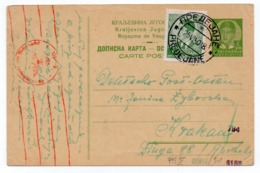 1940 YUGOSLAVIA, NORTH MACEDONIA, PREDEJANE TO KRAKOW, POLAND,WWII, CENSORED IN POLAND, CORRESPONDENCE CARD, USED - 1931-1941 Kingdom Of Yugoslavia