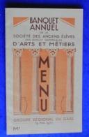 Menu Du Banquet Des Anciens élèves  Des Arts Et Metiers 1935, Au Restaurant Bonfils à Castanet  - Nimes - Menus