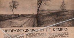"""HEIDE-ONTGINNING IN DE KEMPEN,,1935.. DOMEIN """"MALOU """" HALVERWEGE BAELEN-OP-NEET LEOPOLDSBURG - Non Classés"""