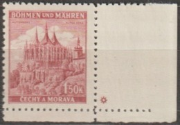 210/ Bohemia & Moravia; ** Nr. 58, Purple Red; Corner Stamp With Plate Mark * - Bohême & Moravie