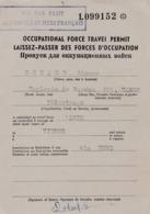 Laissez-passer Des Forces D'occupations. Services Des Affaires Allemandes Et Autrichiennes - Documents