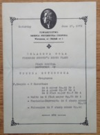 ZELAZOWA WOLA CHOPIN PIANO RECITAL PROGRAMME 1972 - Programs