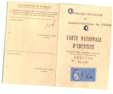 CARTE NATIONALE D'IDENTITE N°55.950  R.F. THONON  1967 - Mappe