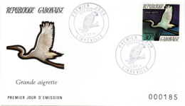 GABUN, FDC,   Egret     /  REPUBLIQUE  GABONAISE, Lettre De Première Jour,  Grande Aigrette,  1971 - Kranichvögel
