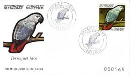 GABUN, FDC,   Parrot   /  REPUBLIQUE  GABONAISE, Lettre De Première Jour,  Perroquet Jaco,  1971 - Papageien