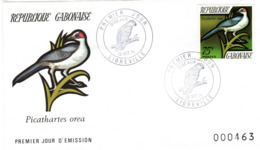 GABUN, FDC, Grey-necked Rockfowl    /  REPUBLIQUE  GABONAISE, Lettre De Première Jour, Picathartes Orea,  1971 - Sperlingsvögel & Singvögel