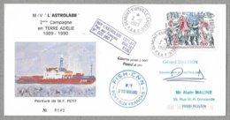 """2 - TAAF PA108 Du 3.12.1989 DUMONT D' URVILLE. Enveloppe Et Cachets M/V """" L' ASTROLABE """" Signature Du Commandant - Lettres & Documents"""