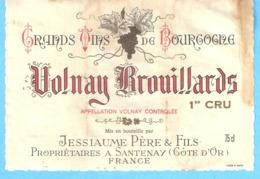 Etiquette-Vin De Bourgogne-Volnay-Brouillards 1er Cru-Jessiaume Père & Fils à Santenay (Côte D'Or) - Bourgogne