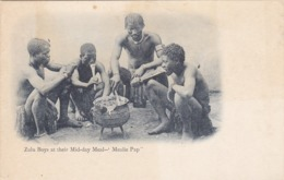"""Zulu Boy's At Their Mid-Day Meal, """"Mealie Pap"""", South Africa, 1901-07 - South Africa"""