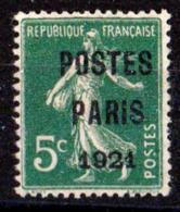 FRANCE PREOBLITERE 1921 N° 26 SANS GOMME COTE 80 EUROS SIGNE CALVES - 1893-1947
