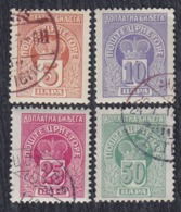 Principality Of Montenegro 1907 Porto Stamps, Used (o) Michel 19-22 - Montenegro