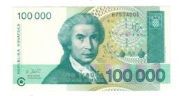 Croatia 100 000 Dinara 1993. P-27a, UNC. - Croatia