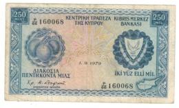Cyprus 250 Mils. 1979. VF. - Chypre
