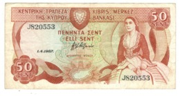 Cyprus 50 Sent. 1987. VF. - Chipre