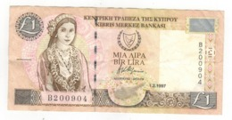 Cyprus 1 Pound 1997. F/VF. - Chipre