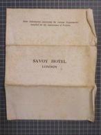 Cx 12) Ephemera Instructions Utiles Pour Le Savoy Hotel London (circa 1910) Useful Instructions / Bcp Défauts Damaged - Folletos Turísticos