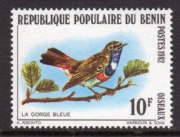 BENIN - 1982 BLUETHROAT 10F BIRD STAMP FINE MNH ** SG 862 - Benin - Dahomey (1960-...)