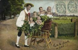 Illustrateur Bébés Multiples Au Milieu Des Fleurs  Dans Une Brouette De Jardinier RV Cachets  St Affrique Fayet - Bebes