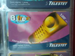 GREECE USED  PREPAID CARDS TELESTET  B FREE 5.000 TELEPHONES - Telefone