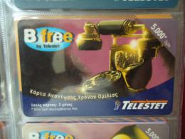 GREECE USED  PREPAID CARDS TELESTET  B FREE 5.000 TELEPHONES - Telefoni