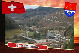 Postcard, REPRODUCTION, Municipalities Of Switzerland, Clos Du Doubs - Landkaarten