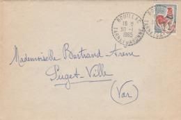 COQ DECARIS 30C SEUL SUR LAC RECETTE DISTRIBUTION BOUILLAC TARN ET GARONNE 30/1/65 POUR PUGET VILLE VAR - Postmark Collection (Covers)