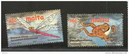 EUROPA MALTE N° 1140/1141** - EAU RICHESSE NATURELLE  (libellule - Grenouille) - 2001