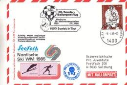 Montgolfières - Nations Unies Autriche - Carte Postale De 1985 - Oblit Wien - Vol Par Ballon - Cachet De Seefeld - Airships