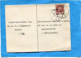 MARCOPHILIE-lettre  -carte  Hyères Cad 7 Oct 1944 Affrt Pétain 1.50fr -Derniers Jours D'utilisation De Type Pétain - Marcophilie (Lettres)