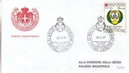Ordre De Malte - Lettre De 1987 - Oblit Souvrano Militare Ordine Si Malta - - Malte (Ordre De)