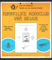 AANPLAKKAART REGIE DER POSTERIJEN - KONINKLIJKE AEROCLUB VAN BELGIE - 1976 (AK 01) - Documents Of Postal Services