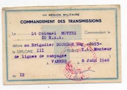 III Région Militaire - Commandement Des Transmission -LT Colonel MOTTEZ - VANNES 1948 - Cartoncini Da Visita