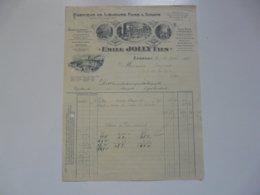 VIEUX PAPIERS - FACTURES : Fabrique De Liqueurs Fines Et Sirops - Emile JOLLY Fils - Francia
