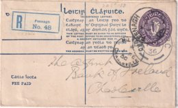 EIRE 1936   ENTIER POSTAL/GANZSACHE/POSTAL STATIONERY LETTRE RECOMMANDEE DE FEENAGH - Postwaardestukken