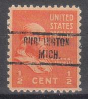 USA Precancel Vorausentwertung Preo, Locals Michigan, Burlington 734 - Vorausentwertungen