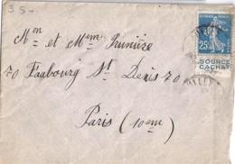 """SEMEUSE N° 140 + PUB """"source Cachat"""" SUR LETTRE DE 1924 - 1906-38 Sower - Cameo"""