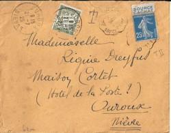 """SEMEUSE N° 140 + PUB """"source Cachat"""" SUR LETTRE DE 1925 TAXEE - 1906-38 Säerin, Untergrund Glatt"""