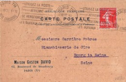 SEMEUSE N°194 SUR CARTE COMMERCIALE  DE 1927 - 1906-38 Semeuse Camée