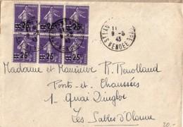 SEMEUSE N°218x6 SUR LETTRE DE 1943 - 1906-38 Semeuse Camée