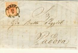 1850-Lombardo Veneto 15c.III Tipo Su Lettera Con Testo Del 1855 Annullo Verona 14/9 - Lombardo-Vénétie