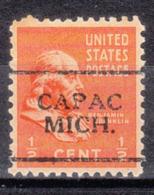 USA Precancel Vorausentwertung Preo, Locals Michigan, Capac 701 - Vorausentwertungen